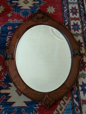 "Antique Arts and Crafts Art Nouveau Bevelled solid OAK Mirror 28""x 22"""