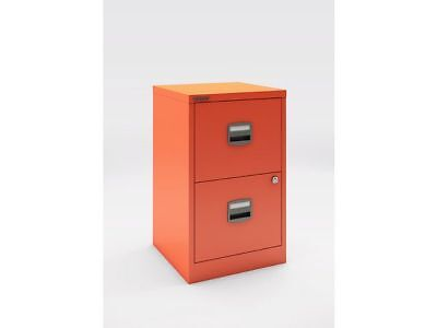 2 DRAWER BISLEY STEEL FILING CABINET MANDARIN ORANGE  A4 /  NEW + FREE 24h DEL