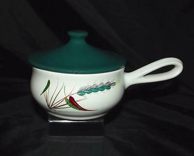 Denby Pottery Greenwheat Pattern Soup Bowl For One With Lid & Handle Stoneware