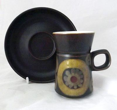 Denby Pottery Arabesque Pattern Coffee Cup and Saucer made in Stoneware