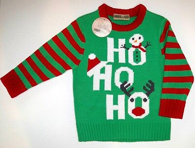 Boys Or Girls Holiday Christmas Crew Neck Long Sleeve Pullover Sweater Ho Ho Ho