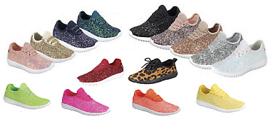 Girls Youth Kids Sequin Glitter Lace Up Fashion Shoes Comfort Athletic  Sneakers 33aa9dfac