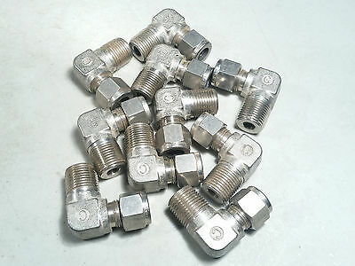 """STAINLESS STEEL 316 3/8"""" TUBE OD x 3/8"""" MALE NPT ELBOW FITTING - LOT OF 10"""