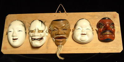 Set of 5 Miniature Chinese / Japanese   Mask set on Wooden Board