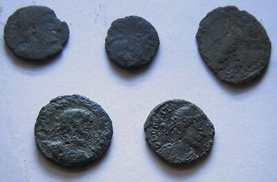 Genuine Roman Coin Collection Joblot x5 Uncleaned Unresearched Good Grade Lot#22