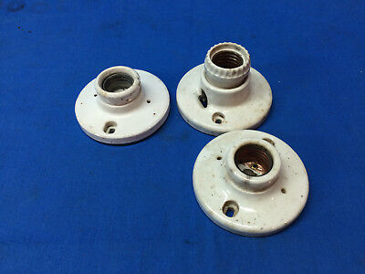 Lot of (3) Vintage Porcelain Ceramic Ceiling Light Fixtures