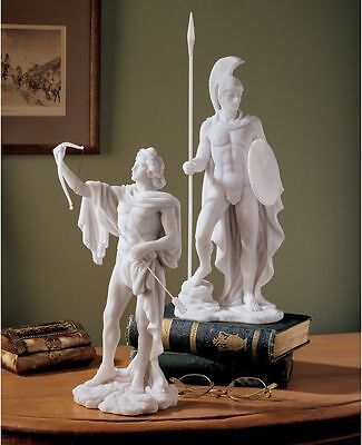 Set of 2: Classical Greek Gods Apollo & Ares Bonded Marble Deities Sculptures