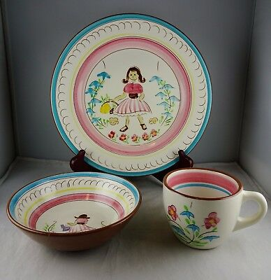 Stangl Pottery Kiddieware Mary Quite Contrary Plate Bowl & Mug
