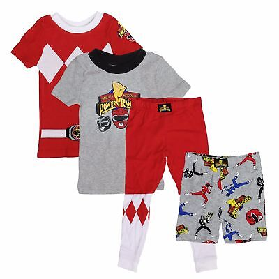 Power Rangers 4 Piece Pajama Sleepwear Set for Boys - 2 Shirts, Pant, Short