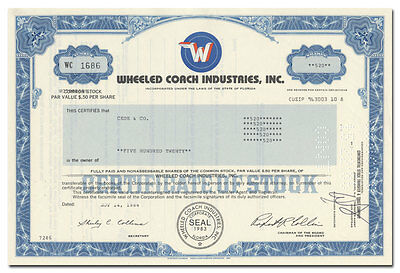 Wheeled Coach Industries, Inc. Stock Certificate (Ambulance Maker)