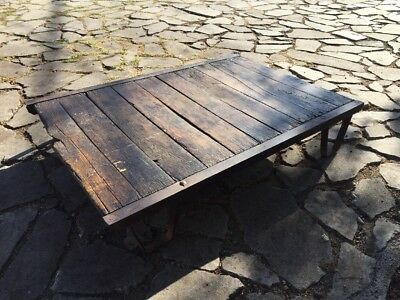 Antique VTG Iron & Wood Industrial Table Orchard Pallet Coffee