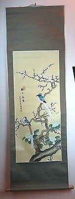 "Original Chinese Art Paper Wall Scroll Blue Birds Landscape Scene - 24"" x 66"""