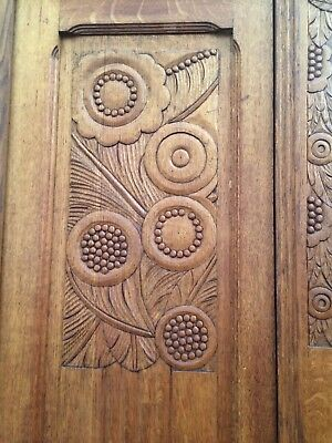 Antique carved wood armoire, art deco style,