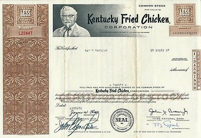 Original Kentucky Fried Chicken (very Rare Stock Certificate