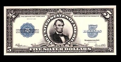 BEP Proof Print or Intaglio of $5 Face of 1923 Silver Certificate Porthole Note
