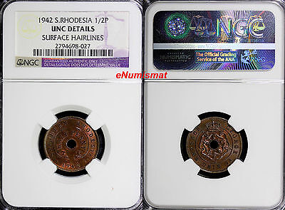 Southern Rhodesia George VI Bronze 1942 1/2 Penny NGC UNC DETAILS KM# 14a