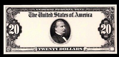 Proof Print or Intaglio Impression by BEP Face of 1923 $20 Federal Reserve Note