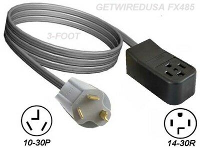 NEW FEMALE 14-30R 4-PRONG RECEPTACLE to MALE 10-30P 3-PIN PLUG DRYER ADAPTER 3FT