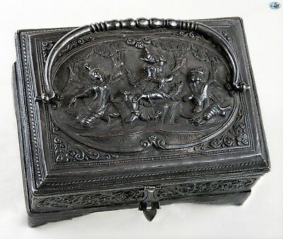 Magnificent Antique 1800 Asian Burmese Box with Handle and Lady Dancers