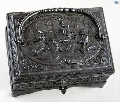 Magnificent Antique 1800 Asian Burmese Lady Dancers Silver Box with Handle