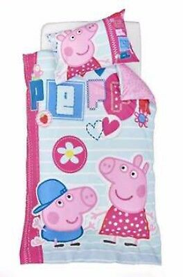Kids Girls PEPPA PIG Pink and Blue SINGLE Duvet/Doona/Quilt Cover SET