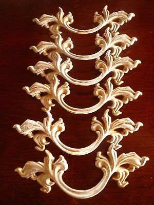 Lot of 6 Custom Vintage Look French Provincial Drawer Pull Brass White Gold