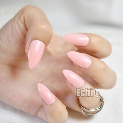 Pink Lotus Color Oval Sharp end Stiletto False Nails Baby Pink Pointed Fake 140P