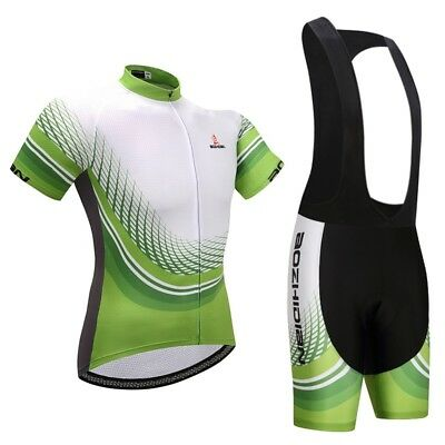 Men s Cycling Gear Kit Green Cycle Jersey   Padded Bike (Bib) Shorts Set S 6bd0ef286