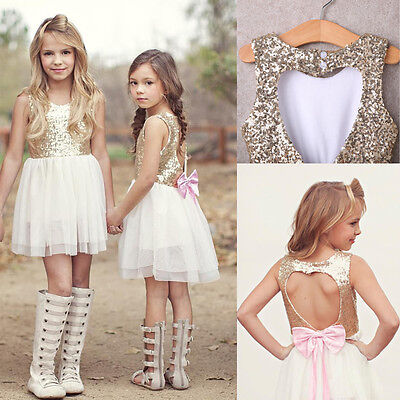 Sequins Baby Flower Girl Dress Party Gown Bridesmaid Dresses Princess Sundress