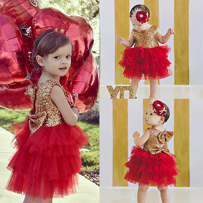 Kids Baby Girl Sequins Lace Tutu Dress Bow Party XMAS Dresses Backless Sundress