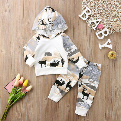 Toddler Baby Boys Girl Deer Tops Hoodies Pants Legging Outfits Clothes Set 0-24M