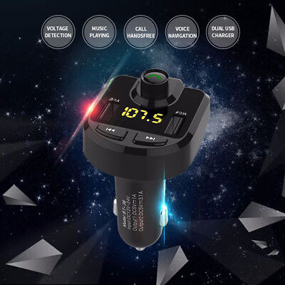 3.1A Dual USB Car Charger Bluetooth Hands-free Car Kit FM Transmitter BT36 Black