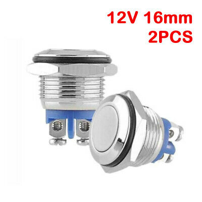 12V 16mm LED Power Push Button Switch Momentary Latching Waterproof Metal