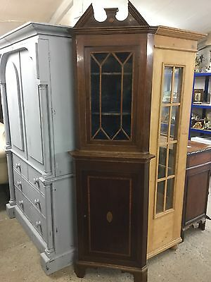 Antique Mahogany Inlaid Edwardian Corner Cupboard