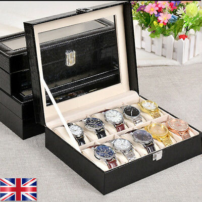 New 10 Grids Leather Watch Display Case Jewelry Collection Storage Holder Box