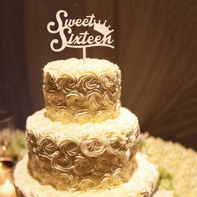 Rustic Wooden Sweet Sixteen Cake Topper 16th Birthday Party Cake Decoration
