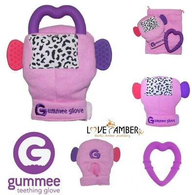 PINK Girls Gummee Glove Silicone Heart BABY Teething Ring Mitten Toy Gift UK