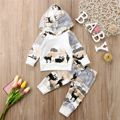 Newborn Baby Boys Girls Deer Hooded Tops Pants Leggings Outfits Set Clothes AU
