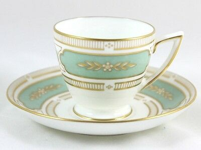 Vintage Minton Bone China Imperial Jade H5271 Green Gold White Cup & Saucer Set