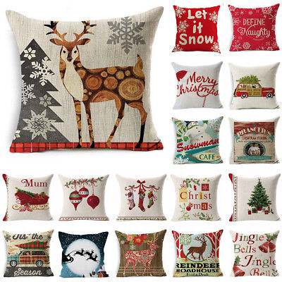 Christmas Cotton Linen Bed Sofa Waist Cushion Throw Pillow Case Cover Home Decor
