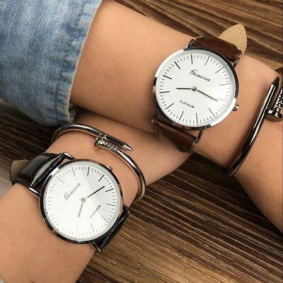 Fashion Men Women Stainless Steel Leather Band Analog Quartz Wrist Watch Watches