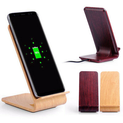 Wood Qi Wireless Fast Charger Charging Stand Dock Pad for iPhone 8 Plus iPhone X