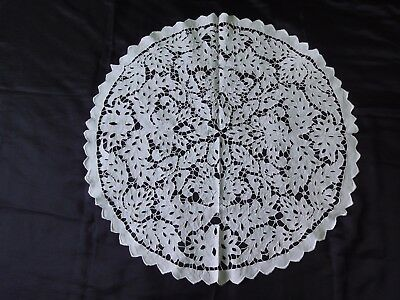 Beautiful Vintage Handmade Cutting Embroidered White Round Tablecloth