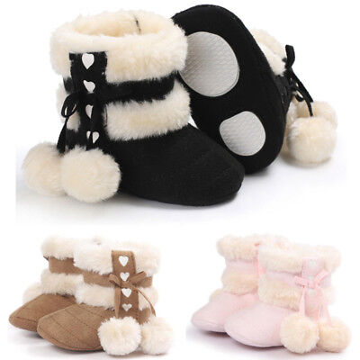 Newborn Baby Girls Soft Booties Winter Warm Snow Boots Bowknot Sole Shoes 0-18M