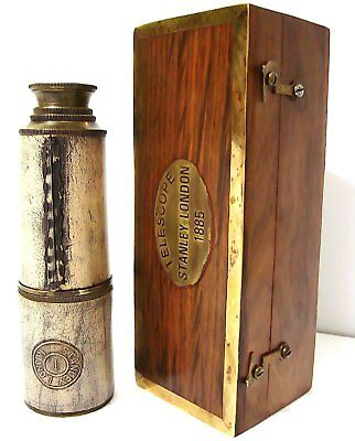 Nautical Spyglass Brass 16 Inch Telescope Stanley London With wood box