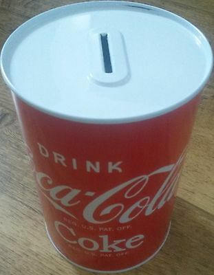 "Coca Cola ""drink Coca Cola Coke"" Money Box Tin - Rare & Bargain Price"