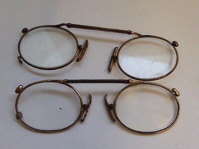 2 x Pairs of Vintage Pince Nez Spring Top Gold Plated Glasses Spectacles Ref#9