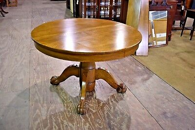 Antique Round Tiger Stripe Quarter Sawn Oak Dining Table with Paw Feet to 72""