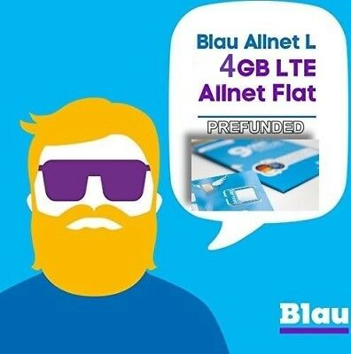NEW! PREFUNDED 4GB UNLIMITED Germany and EU BLAU SIM CARD GERMAN EUROPE