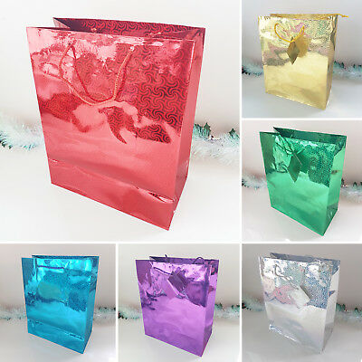 Holographic Gift Bag Paper Bags Gift Carrier Christmas Wedding Decorative Shiny
